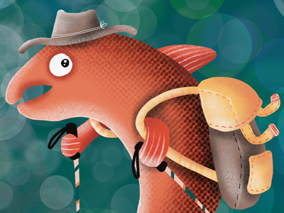 Salmon ©WACHtraum Illustration by Danja K fishing wanderer editorial design editorial art characterdesign character design editorial editorial illustration endangeredspecies endangered fish salmon