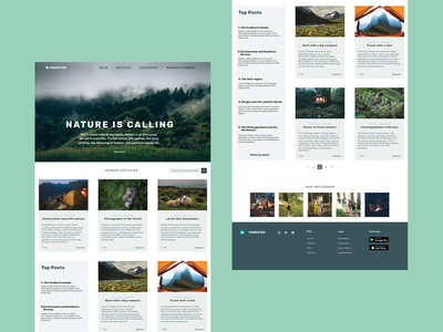 Blog by nature camp Forester 🌲 website web icon vector design typography ux branding logo ui