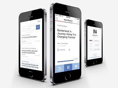 NPR One audio interface design mobile app iphone public radio npr one npr