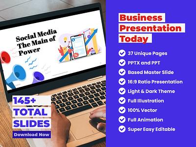 Business Presentation PowerPoint logo vector branding illustration flat clean ux ui presentation design keynote vector illustration flat design powerpoint templates business presentation
