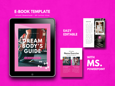 Fitness Girl eBook Design Template gym fitness lookbook ecommerce powerpoint ebook ios android art etsy ux ui minimal icon flat clean