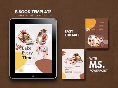 16 Pages Recipe Cake eBook Template Editable Using MS PowerPoint minimal flat etsy ux ui icon clean powerpoint presentation powerpoint template ebook recipe app recipe book recipe