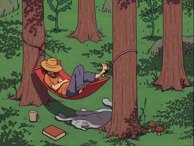 Hammock amanita muscaria wolf wacom pencil illustration chilling forest leisure wildlife nap dog outdoors hammock