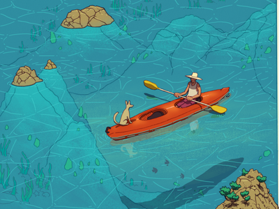 Kayak editorial illustration companion dog canoe boat fish wildlife leisure sea ocean kayak