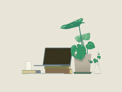 home from work workfromhome laptop mug plant desk