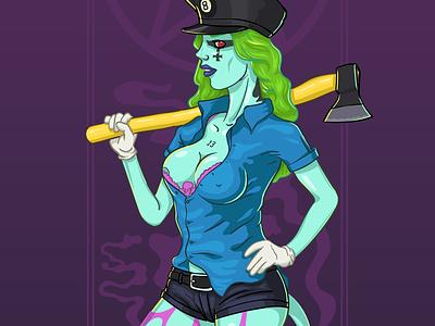 hostess stockings fiction monster skate vector