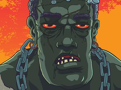 frank vector halloween monster fiction skate
