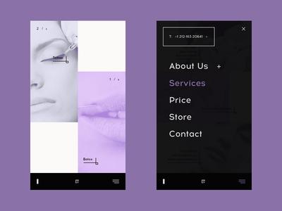 Beauty salon — concept mobile perfect adaptive mobile responsive modern creative digital minimalistic design inspiration black uk menu stylishly ui purple dark flat concept web beauty