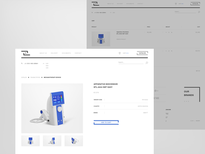 MEAMED — Product details desktop creative interface e-commerce medical product details digital light minimalistic shop ui product page cart blue clean interactive web medicine equipment gray