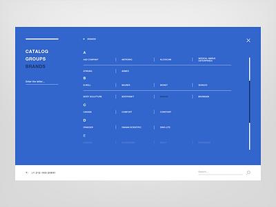 MEAMED — window brands and catalog creative grid desktop design interface catalog digital flat minimalistic scroll list brands interactive blue modern clean website web commercial ui ux