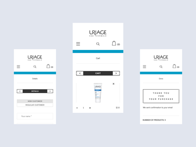 Uriage checkout card checkout app ecommerce design ecommerce interaction light minimalistic responsive france french water thermal water ux store clean mobile ui cart uriage