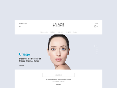 Uriage business shopping marketing light blue site estore minimal thermal water light clean ui french france store ecommerce uriage interface design web