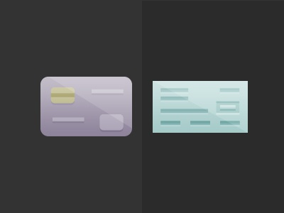 Credit or Check illustration credit card check payments purple teal