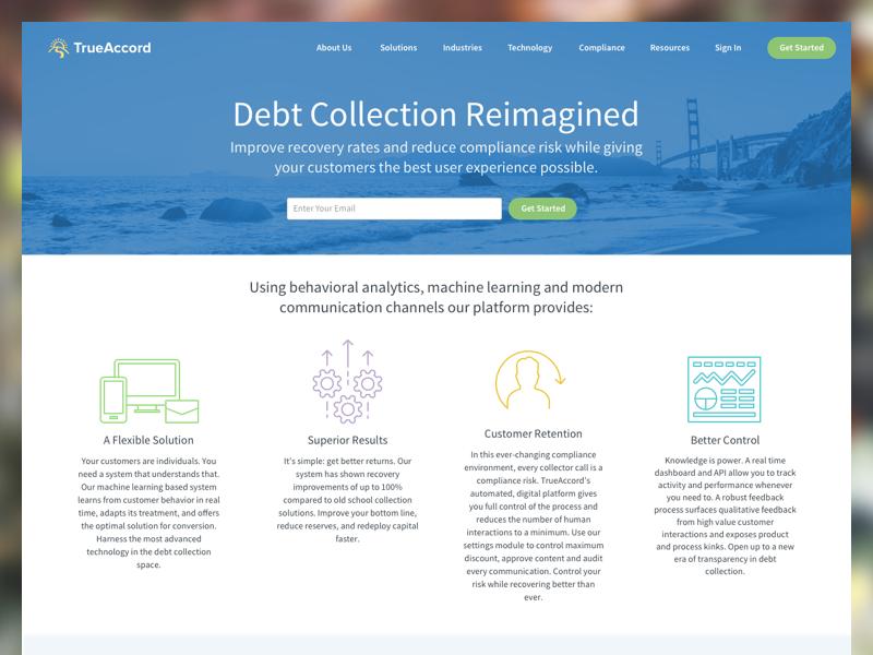 New Paint finance blue homepage website trueaccord