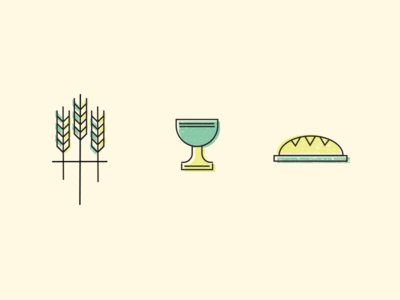 Wheat, cup and bread