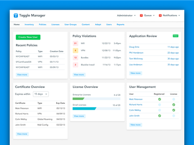 Toggle Manager toggle application webapp dashboard