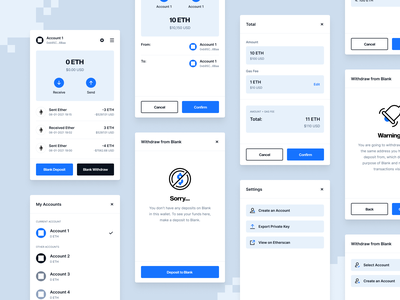 Blank Wallet - Chrome Extension blockchain cryptocurrency ui ux bank transfer crypto wallet user flow chrome extension extension design user experience design clean design user interface user experience product design