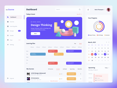 Online Learning Platform Dashboard platform light online education online learning online course dashboard design dashboard ui dashboard uxui ux ui minimal web design