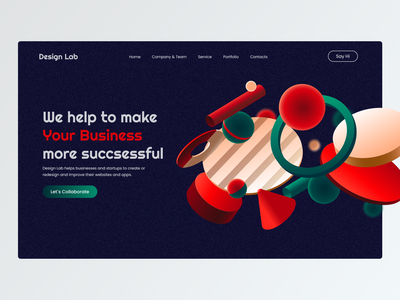 Landing page for product company dark mode dark minimal ui design main page design studio landing page ux web design website ui design