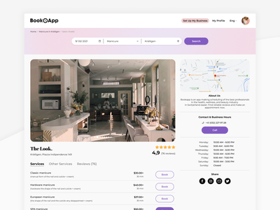 Booking for Beauty Salons details page beauty booking salon beauty salon booking ui ux minimal design