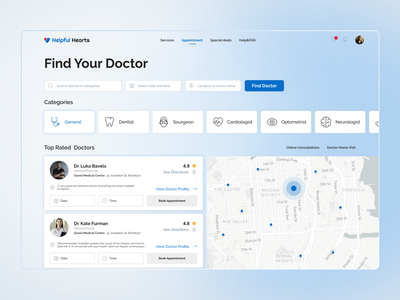 Form to book a medical appointment doctor appointment doctor map clean ui icons categories online booking appointment appointment booking medical app medicine medical form dashboard design dashboard booking ux ui minimal design