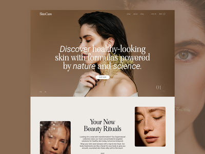 Cosmetic Shop Main Page skin care style web design main page ui design type typography beauty beautiful shop brand cosmetic ux ui minimal design