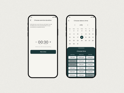 Choose Duration and Choose Date&time screen app ux design app design appointment booking appointment agency booking app booking mobile app app mobile ui design ux ui minimal design