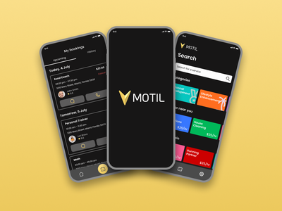 Motil- Booking & Appointment Application studio uxui mobile mobile app booking apps appointment booking application app ui design ux ui design