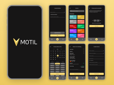 MOTIL- Process of Creating a Booking app design mobile design process creating booking app screens process appointment booking mobile application mobile application app ui design ux ui design