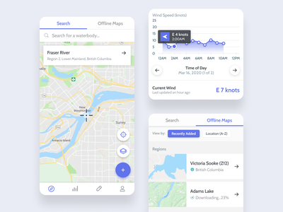 Mobile Fishing App Pages and Cards card fishing app mobile app stats graphs maps icons google ui ux uxui purple white tabs pills arrow download add search