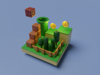Blender Mario Scene green illustration 3d 3d art mario coin cute orthographic blendercycles blender3d blender simple minimal