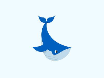 A Whale mark ocean minimal simple drawing animal blue illustration cute whale
