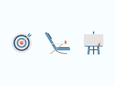 Illustrated Icons minimal simple easel orange blue bullseye target icons symbols illustration