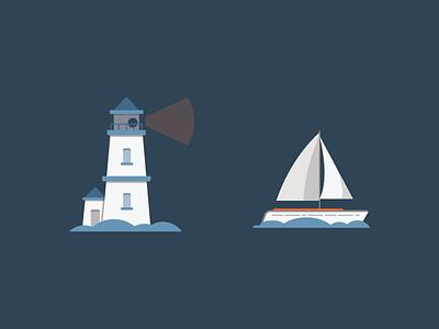 Set Sail! water sail boat light lighthouse sailboat simple minimal orange blue illustration icons