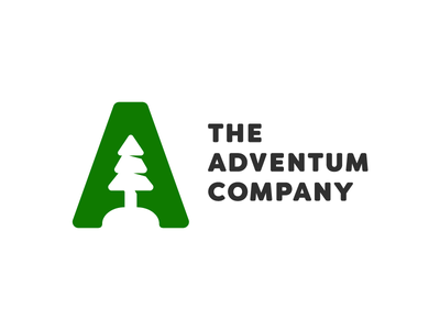 The Adventum Company Logo vancouver a negative wordmark minimal negative space simple mark green tree nature logo