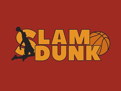 Slam Dunk man ball typography champion movie jump illustration vector sport dunk slamdunk basketball