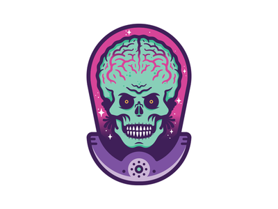 Martian Sticker holographic space mars attacks martian alien sticker