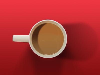 Cuppa Tea mug tea shadows top view gradients milk