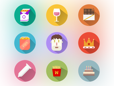 cravings icons wow flat long shadow cravings gradient blur vices pills