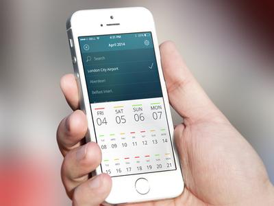 Calendar  mobile calendar clean ios date airport gradient app