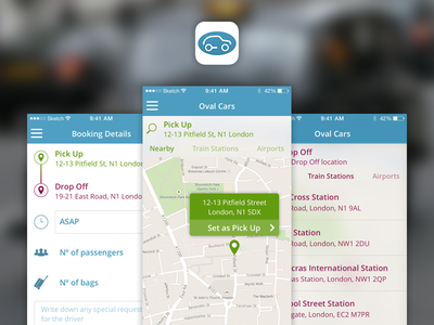 Oval Cars app cab taxi iphone app map sketch simple