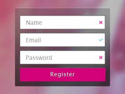 Registration Form social network iphone pink