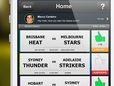 iPhone App test sport cricket