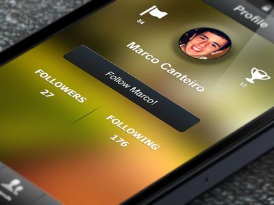 Profile page iphone profile follow following awards