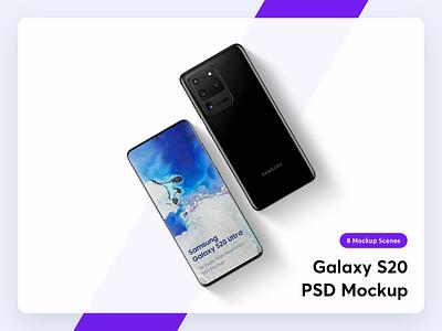 Samsung Galaxy S20 Mockup psd clean 3d presentation android app mockup samsung galaxy s20 mockup phone mobile device hero header web mockup ultra plus s20 galaxy samsung