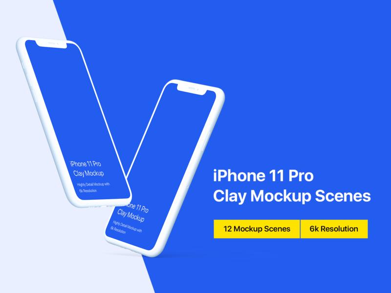iPhone 11 Pro Mockup - Clay Mockup Scenes