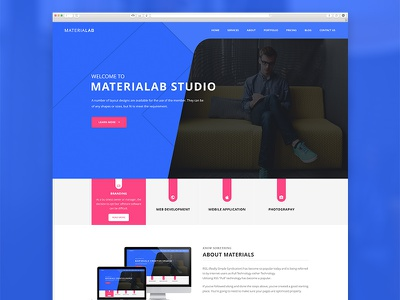 MateriaLab - Material Design Agency PSD Template material design material template portfolio creative agency modern clean psd themeforest google material material
