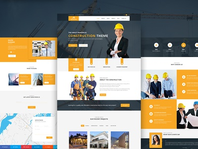 Materialab construction template  clean modern agency creative portfolio themeforest photoshop material design web site material web ui psd construction