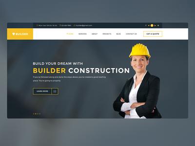Builder clean modern agency creative portfolio themeforest photoshop web design web ui psd construction