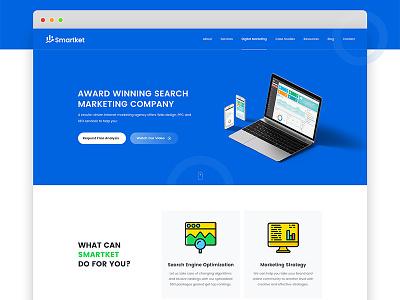 Smartket- Digital Marketing & SEO Website ux ui product design landing page social media freebie material flat minimal seo marketing